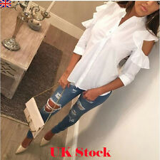 Womens Loose Cold Shoulder Flared T Shirt Long Sleeve Tops Blouse Ladies Fashion