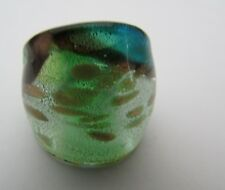 Style Glass Ring. Uk-Q.Us-8. (150!) A Blue/Silver/Gold Over Green Murano