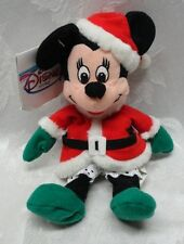 "Disney Minnie Mouse Santa Christmas Holiday 7"" Tags New Plush Stuffed Animal"