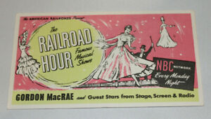 10 vintage advertising blotters The Railroad Hour NBC Network with Gordon MacRae