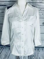IZ Byer Women's Small Blouse 3/4 Sleeves Button Down White Black Lace Silky