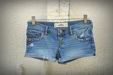 HOLLISTER Size 0 Destroyed Bling Embroidery Hot Mini Denim Short Shorts Shorts