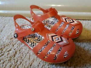 Crocs Toddler Girl's Orange Rubber Sandals, Size 9T