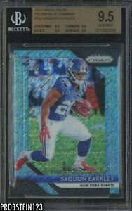 2018 Panini Blue Shimmer Prizm #202 Saquon Barkley Giants RC Rookie 5/9 BGS 9.5