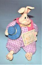 Russ Berrie, Kathleen Kelly Billy Bunny #2044, resin, cloth bean bag New Easter