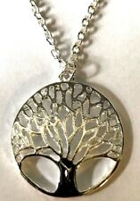 tree of life necklace,silver colour chain costume jewelry & religious jewelry