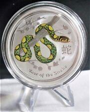 (2013) Australia 1 oz  Colorized Snake Lunar .999 Silver Coins Pert Mint BU