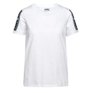 T-Shirt Woman Diadora Sport Trophy Cotton White Bands Logo Side