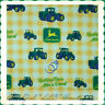 BonEful Fabric FQ Cotton Quilt VTG Yellow Green Plaid John Deere Tractor Calico