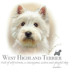 WESTIE (WEST HIGHLAND) DOG with Phrase on One Large FABRIC Panel to Sew
