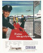 1952 Convair AirPlane stewardess and Pilot  PRINT AD
