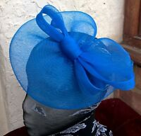 blue crin fascinator headband headpiece wedding party piece race ascot bridal