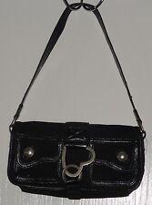 Women's Juniors XOXO Small Shoulder Bag Purse w/ Heart Buckle Black