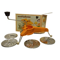 Mouli-Julienne 445, 5 Discs Grater Slicer Shredder Original Vintage Orange Salad