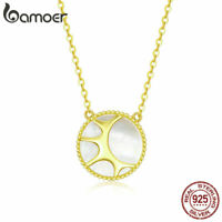 BAMOER Women Golden Necklace S925 Sterling Silver The sun Pendant Hot Jewelry
