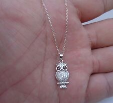 925 STERLING SILVER DESIGNERS OWL PENDANT NECKLACE W/ 1 CT DIAMONDS/18'' CHAIN