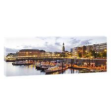 Bild Leinwand Panorama Poster Deko XXL Hamburg Hafen 150 cm*50 cm-208