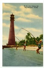 Vintage Linen Postcard ~ Florida Key Biscayne ~ Surf Fishing