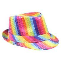 Mozlly Mozlly Glamorous Rainbow Sequin Fedora Hat Flashing Disco Retro Funky  Gli e4fe3c7d6897