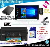 PACK PORTATIL HP 15DA0234NS N4000 8GB RAM 1TB IMPRESORA MULTIFUNCION TELETRABAJO