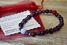 Carnelian Garnet Blue Lace Amethyst Bracelet Natural Stone Works Under Pressure