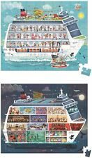 Janod HAT BOXED 2 PUZZLES CRUISE SHIP - 100 AND 200 PCS Wooden Toys Games BNIP