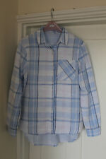 M&S Shirt  Checked Size 8 Blouse Blue White Mix Top Marks & Spencer Cotton