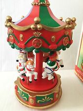 Vintage Electronic Carousel in box Lights Music Plays 12 Christmas Melodies