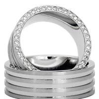 Silber 925 Trauringe Eheringe Verlobungsringe mit Gravur und Swarovski Stein D2