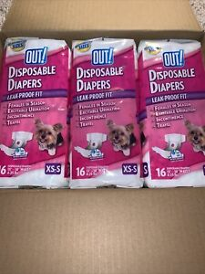 3 OUT! PetCare Comfort Dri Disposable Dog Diapers XS/S 16 pack (48) 13-18 Waist