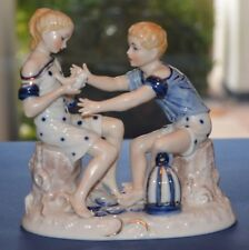 Sitzendorf Figure of a Boy and Girl with a Dove
