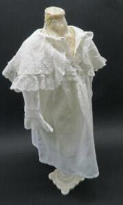 ANTIQUE VINTAGE EDWARDIAN DOLLS NIGHT DRESS COTTON & LACE FROM HAMLEYS OF LONDON