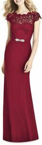 Jenny Packham Women Lace & Crepe Column Gown   Size - 6   Burgundy
