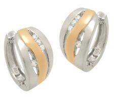 Ohrringe Creole Silber 925 Rotvergoldet Anlaufschutz Neu Zirkonia Weiss