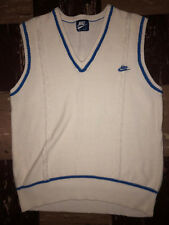 NIKE Vtg 80s 90s NIke Blue Label Tag CABLE KNIT V NECK Sweater vest Tennis Med/L