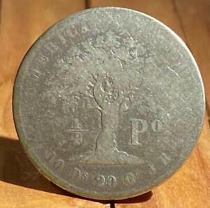 Costa Rica Silver Coin - 1/4 peso - 1853 - scarce.