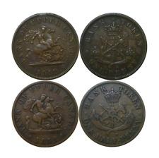 1852 Canada Upper Bank Both Penny & Half Penny Tokens Br #719 & 720