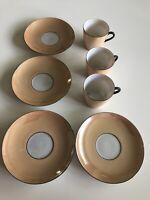 Vtg Czechoslovakia Lusterware Mini Tea Set Cup Saucer Black Trim Iridescent 8