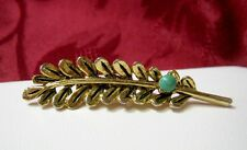 Nice Gold Tone Feather With Green Stone Textured Pin Costume Brooch