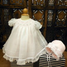 NWT Will'beth White Sheer Overlay Smocked Bishop Dress Newborn Bonnet Baby Girls