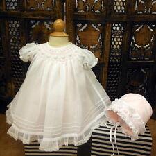 NWT Will'beth White Sheer Overlay Smocked Bishop Dress Preemie Bonnet Baby Girls