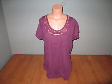 New Womens Size Medium M Northcrest Purple Top shirt Stitched Beaded Neck @@