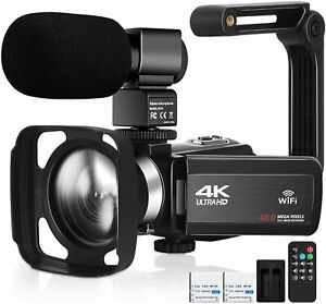 Camcorder Video Camera Ultra HD 4K 48MP Camcorder WIFI Camera Microphone Remote
