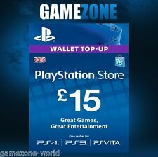 PlayStation Network £15 GBP - 15 Pounds PSN Store Card Key - PS4 PS3 PSP – UK