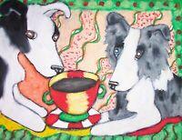 BORDER COLLIE Drinking Coffee Dog Pop Folk Vintage Art 8 x 10 Signed Print