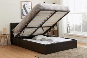 Berlin Ottoman Storage Bed By Birlea - Brown Faux Leather - 5ft Kingsize 150cm
