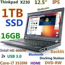 """Thinkpad X230 12.5"""" IPS i7-3520M FAST 1TB SSD 16GB USB-3.0 Backlit Docking-DVDRW"""