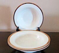 """Pier 1 Gold Band Porcelain Rim Soup Bowls 1/4"""" Gold Band x3"""