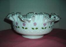 Fenton Large Silvercrest Bowl Handpainted Spainish Lace with Violets