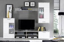 Felipe - Parete da soggiorno, bianco/cemento, luci a LED, ca. 230x185x38 cm